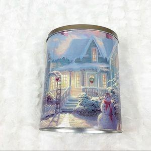 Thomas Kinkade snowman Christmas tin